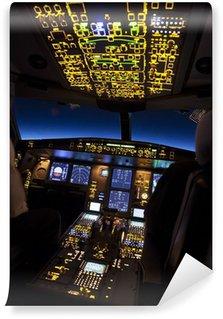 Vinylová Fototapeta Kokpit letadla v letu v noci