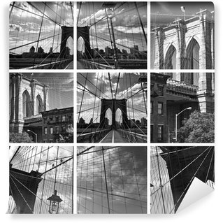 Vinylová Fototapeta Koláž Brooklyn Bridge Black and White - New York USA