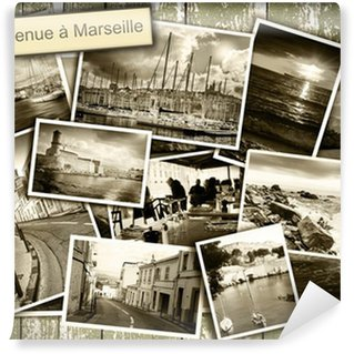 Vinylová Fototapeta Koláž výhled na Marseille, černobílé fotografie na dřevěném b