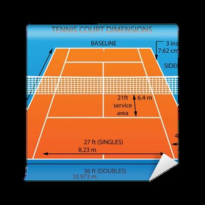 Fototapeta kort tenisowy z wymiarami gliny pixers for Taille d un terrain de tennis