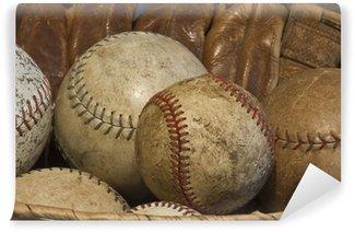 Vinylová Fototapeta Koš starých baseballové s Antique rukavici