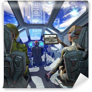 Vinylová Fototapeta Kosmická loď interiéru a cizí planetě