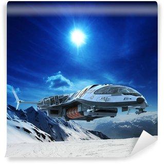 Vinylová Fototapeta Kosmická loď ve sněhu planetě
