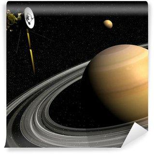 Vinylová Fototapeta Kosmická sonda Cassini u Saturnu a titanu satelitu - 3D vykreslování