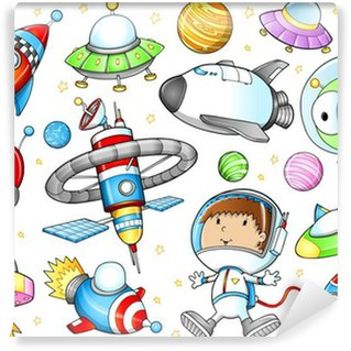 Vinylová Fototapeta Kosmický prostor Kosmické lodě a Astronaut Vector Set