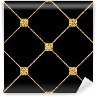 Vinylová Fototapeta Kosočtverec bezešvé vzor. Zlaté třpytky a černá šablona. Abstraktní geometrické textury. Zlatý ornament. Retro, Vintage dekorace. Šablona návrhu tapety, balení, textilie atd. Vektorové ilustrace.