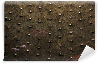 Vinylová Fototapeta Kovové nýty na povrchu rezavé železo tmavém pozadí