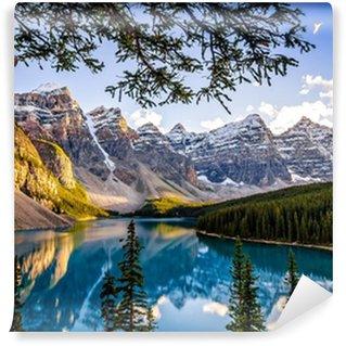 Vinylová Fototapeta Krajina pohled na Morain jezero a pohoří, Alberta, Canad