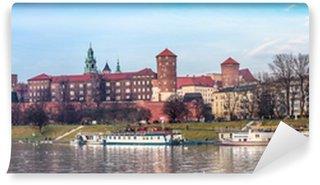 Vinylová Fototapeta Krakov panorama s Letecký pohled na historické královské Wawel hrad A