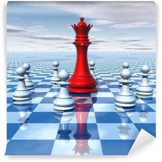 Vinylová Fototapeta Krásná 3d abstrakce s modrou šachovnicí a šachové královny