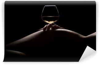 Vinylová Fototapeta Krásná, nahá žena tělo silueta a sklenice nápoje