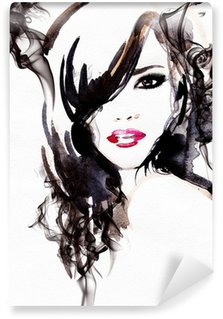 Vinylová Fototapeta Krásná žena. akvarel ilustrace