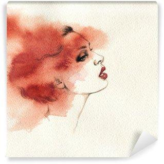 Vinylová Fototapeta Krásná ženská tvář. akvarel ilustrace