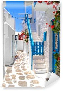 Vinylová Fototapeta Krásné bílé ulice Mykonos, Řecko