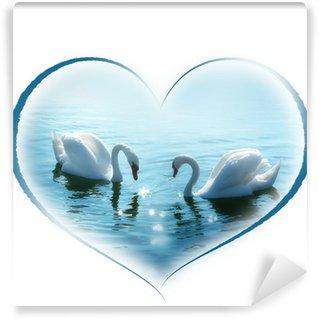 Vinylová Fototapeta Krásné labutí pár ve tvaru srdce
