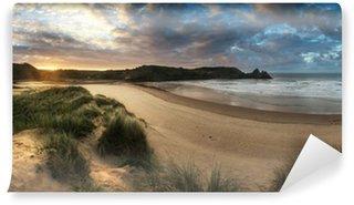 Vinylová Fototapeta Krásné letní východ slunce krajina po žluté písečné pláže