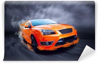 Vinylová Fototapeta Krásné oranžové sportovní auto v ohni
