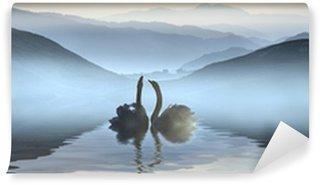Vinylová Fototapeta Krásné romantické obraz labutí na mlhavé jezero s horami i