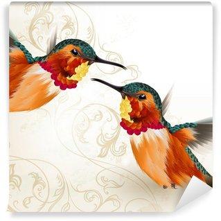 Vinylová Fototapeta Krásné vektor kolibříky s ornamentem