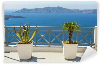 Vinylová Fototapeta Krásný výhled na moře od města Fira v Santorini, Řecko