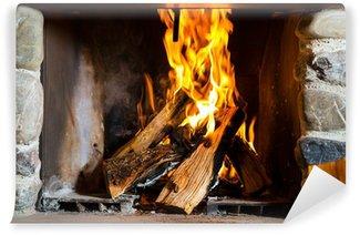 Vinylová Fototapeta Krb s ohněm v horské chatě v Alpách