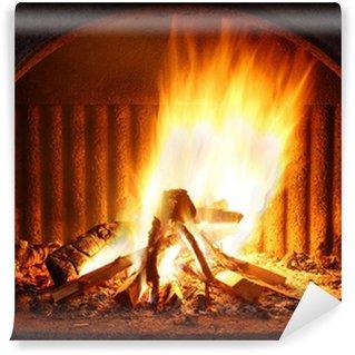 Vinylová Fototapeta Krb s ohněm
