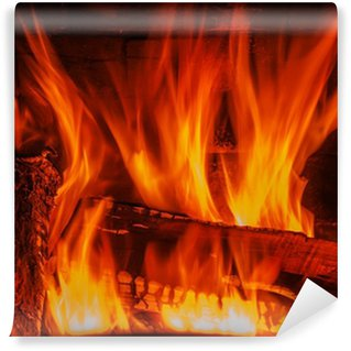 Vinylová Fototapeta Krb se dřevem a ohně