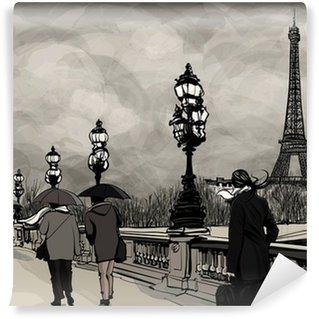 Vinylová Fototapeta Kresba Alexander III most v Paříži ukazuje Eiffelova věž