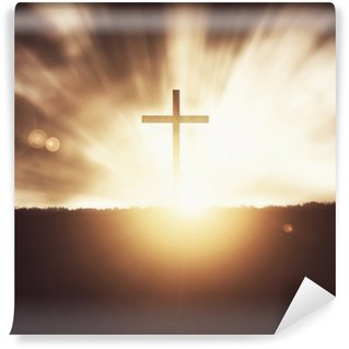 Vinylová Fototapeta Kříž při západu slunce