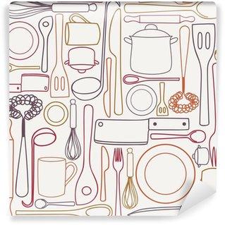 Vinylová Fototapeta Kuchyňské nádobí - bezešvé vzor