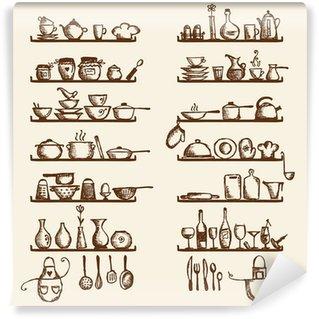 Vinylová Fototapeta Kuchyňské nádobí na policích, skica kreslení pro svůj design
