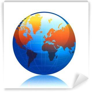 Fototapeta Winylowa Kula, ziemia, ziemia, planeta, mapa świata, niebieski, świat,