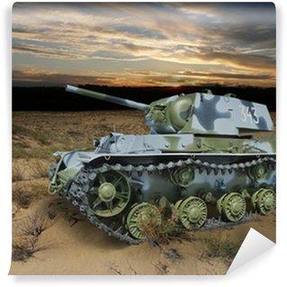 Vinylová Fototapeta KV-1 (Klim Vorošilov) Sovětský těžký tank v noční krajině