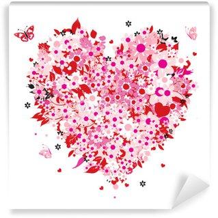 Vinylová Fototapeta Květinové srdce tvar