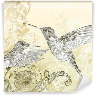 Vinylová Fototapeta Květinové vektorové pozadí s bzučení pták a lokýnky