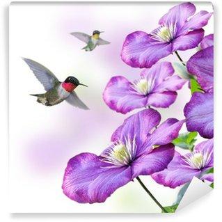 Vinylová Fototapeta Květiny a Kolibříci