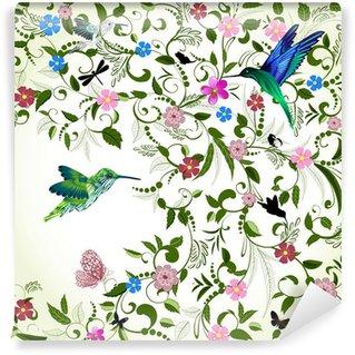 Fototapeta Winylowa Kwiatów tle z ptakiem