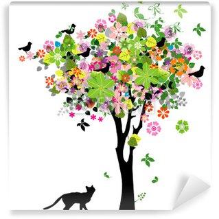 Fototapeta Winylowa Kwiaty drzewa i kot