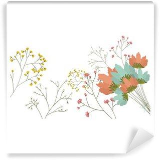 Fototapeta Winylowa Kwiaty ikony. Dekoracje tamtejsze ogród kwiatowy roślinie i wiosną temat. Izolowane projektowania. ilustracji wektorowych