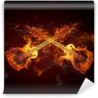 Vinylová Fototapeta Kytara Fire