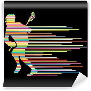 Vinylová Fototapeta Lacrosse hráč v akci vektoru pozadí konceptu z stri