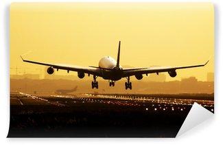 Fototapeta Winylowa Lądowanie samolotu sunrise