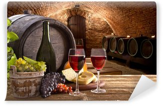 Vinylová Fototapeta Láhev vína a sklenice na dřevěném stole