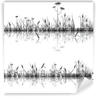 Fototapeta Winylowa Łąka trawa odzwierciedlone w wodzie