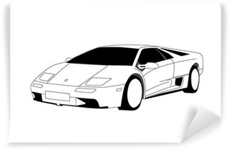 Vinylová Fototapeta Lamborghini - Line Art