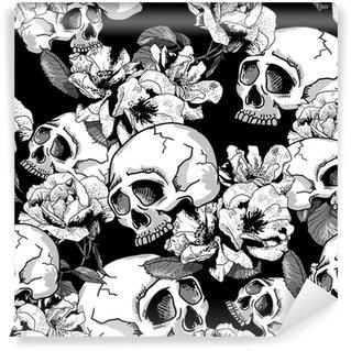 Vinylová Fototapeta Lebka a květiny bezešvé pozadí