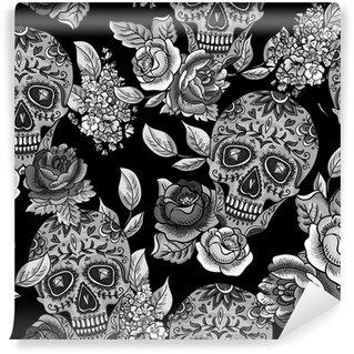 Vinylová Fototapeta Lebka a květiny Monochromatický bezešvé pozadí