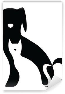 Vinylová Fototapeta Legrační pes a kočka siluety složení