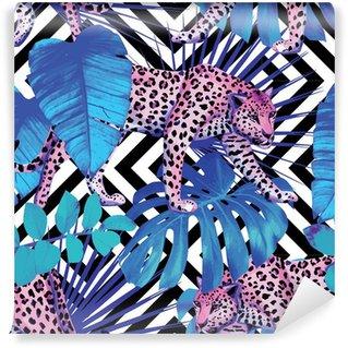 Vinylová Fototapeta Leopard a tropické rostliny, geometrické pozadí