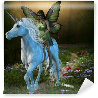 Vinylová Fototapeta Lesní víla a Unicorn